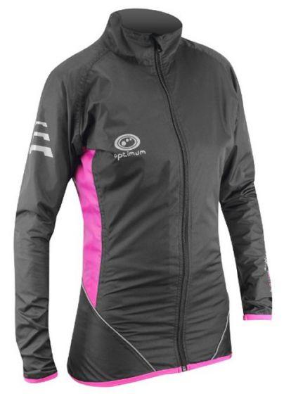 Optimum Ladies Cycling Rain Jacket (Black/Pink)