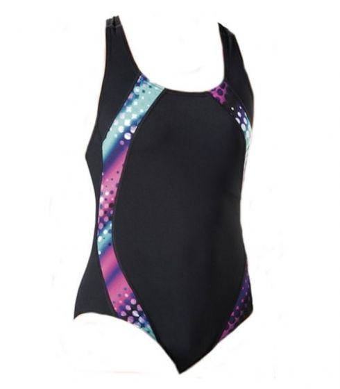 Maru Polka Pacer Panel Hydro Swimsuit (Black/Pink)