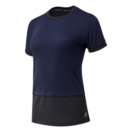 New Balance Women's Navy Impact Run Hybrid T-Shirt