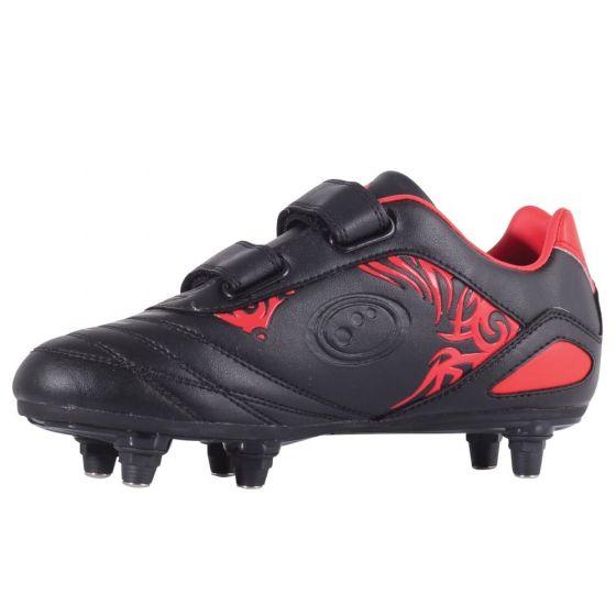 Optimum Kids Razor Velcro Moulded Stud Boots (Black/Red)