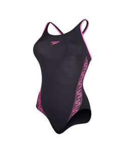 Speedo Girls Monogram Swimming Costume (Black/Pink)
