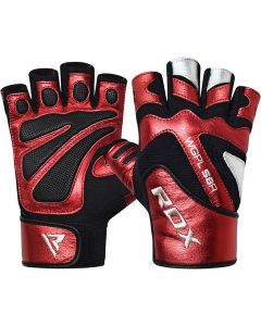 RDX S8 Red Leather Gym Gloves (Junior)