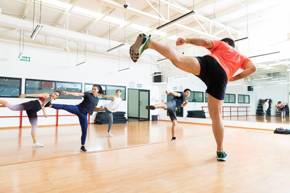 Kickboxing fitness class with teacher