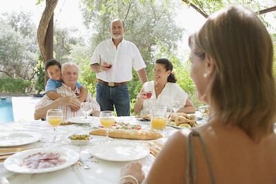 Mediterranean family eating