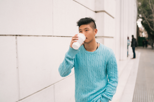 man drinking coffee