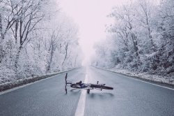 winter cycling bike snow road